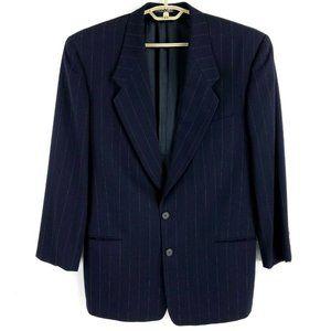 Giorgio Armani Le Collezioni Dark Blue Pinstripe Wool Suit 40R 31x30